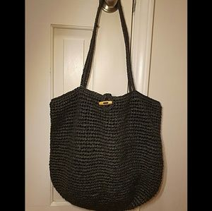 Handbags - Black Straw Beachy Bag